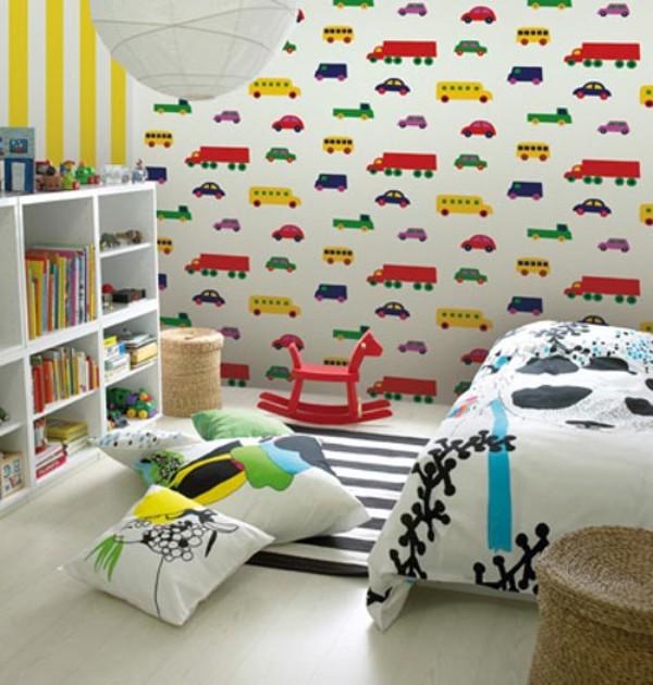 contoh desain wallpaper dinding kamar tidur anak kids