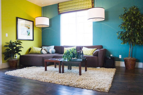 interior-rumah-perpaduan-warna-kuning-hijau