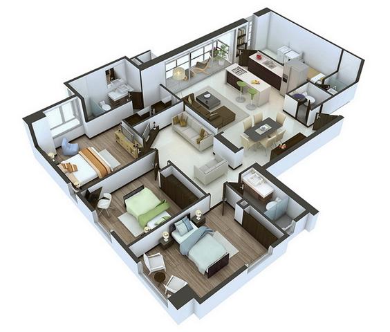 22 Desain 3d Rumah Minimalis Modern 3 Kamar Tidur