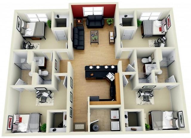 25 Model 3d Denah Rumah Apartemen 4 Kamar Tidur