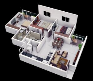 denah rumah minimalis 3 kamar tidur gambar 3D