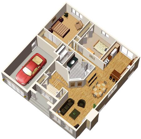 desain model 3D rumah type 70