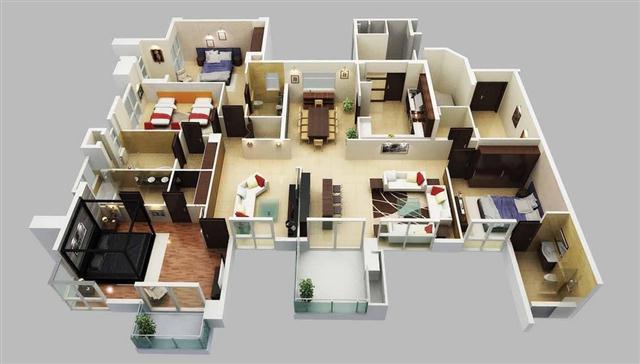 & 26 Desain 3D Rumah Apartemen Modern 4 Kamar Tidur