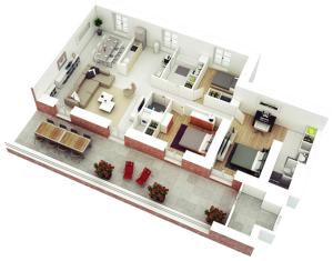 desain 3d gambar rumah minimalis 3 kamar
