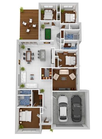 Desain 3D rumah dengan garasi dan ruang santai interior-design-ideas (Small)