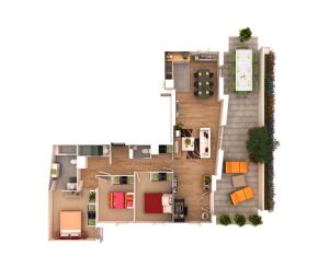 ide desain 3 kamar rumah minimalis 3D