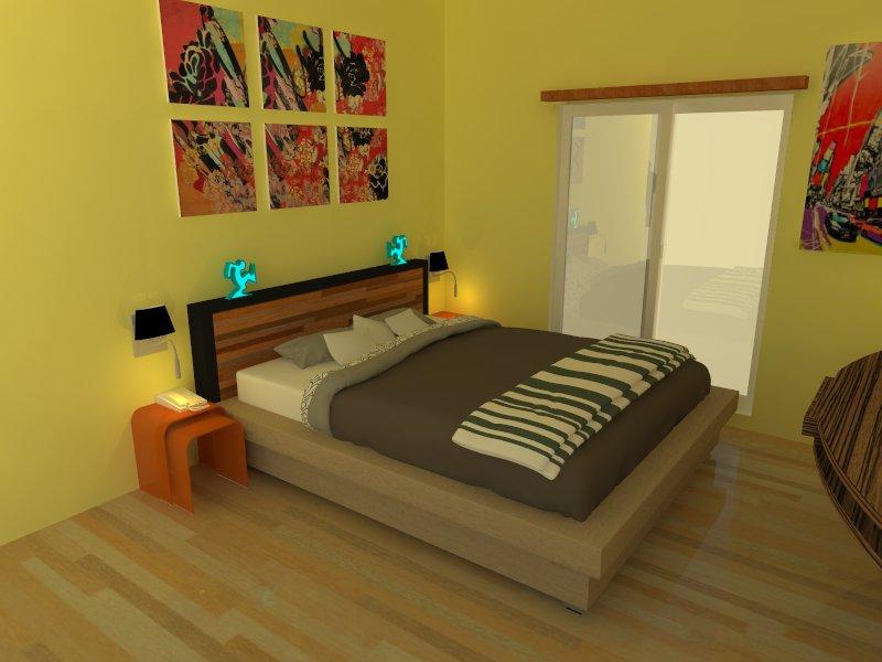 desain interior kamar tidur warna kuning