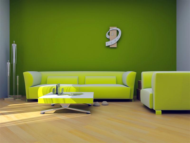 desain interior ruang keluarga warna hijau (Medium)