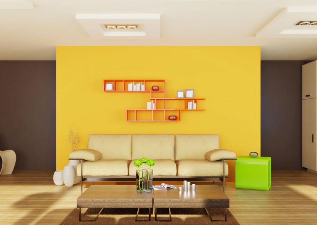 ruang keluarga dengan nuansa warna kuning
