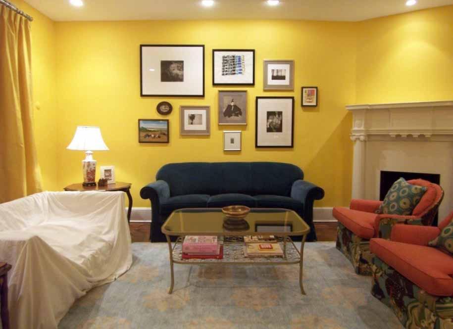 ruang tamu dengan konsep warna kuning