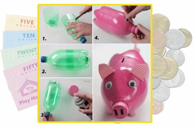 Celengan Babi dari botol plastik bekas - IDEPROPERTI.COM