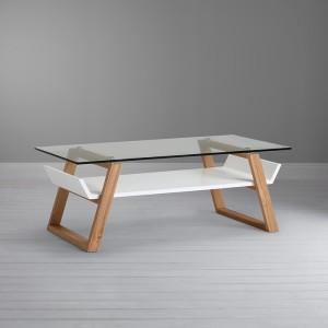 meja minimalis kaca dengan kaki dari kayu