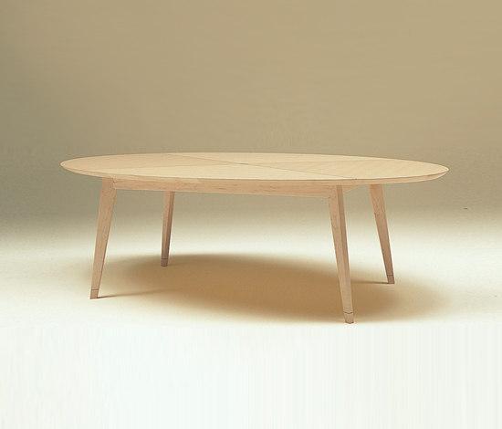 meja ruang tamu berbentuk lonjong dari kayu